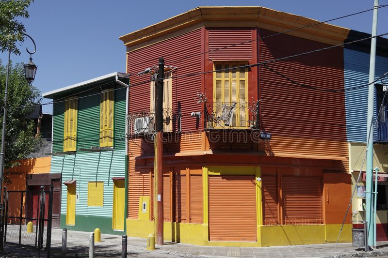 El Caminito. The colorful houses of El Caminito in La Boca, a typical neighbourhood of Buenos Aires, Argentina. The image shows multicolor houses on a corner stock images
