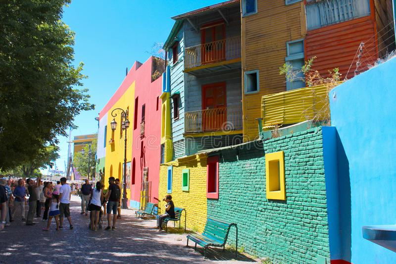 Colorful buildings in El Caminito La Boca Buenos Aires. 2018-02-03 - El Caminito, Buenos Aires, Argentina: People enjoing the Colorful buildings along the street royalty free stock photos