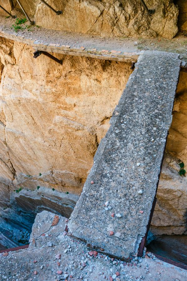 El Caminito Del Rey в ущелье Chorro, провинции Малаги, Испании стоковые изображения rf