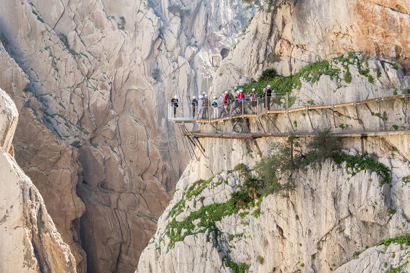 'El Caminito del Rey' (King's Little Path), World's Most Danger. Ous Footpath reopened in May 2015. Ardales (Malaga), Spain stock photo