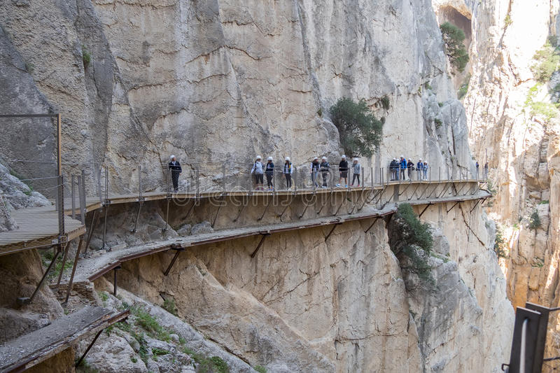 'El Caminito del Rey' (King's Little Path), World's Most Danger. Ous Footpath reopened in May 2015. Ardales (Malaga), Spain stock photos