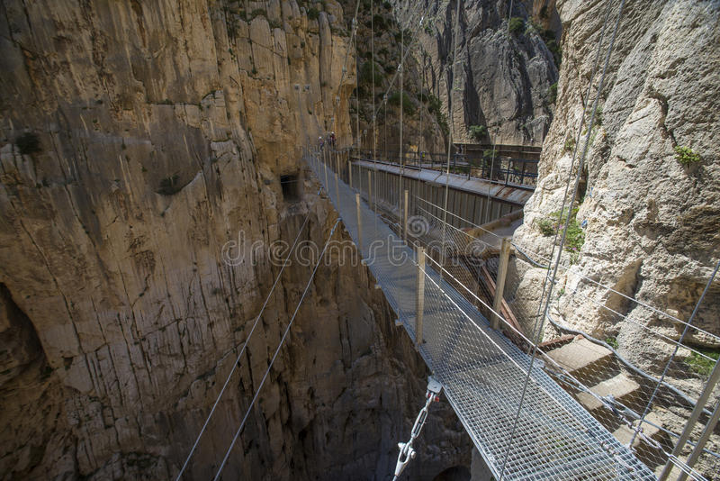 El caminito del Rey. 'El Caminito del Rey' (King's Little Path), World's Most Dangerous Footpath reopened in May 2015 a safer footpath was installed above the royalty free stock image