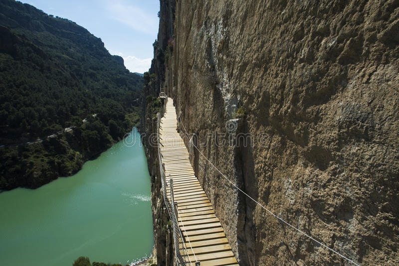 El caminito del Rey. 'El Caminito del Rey' (King's Little Path), World's Most Dangerous Footpath reopened in May 2015 a safer footpath was installed above the stock photos