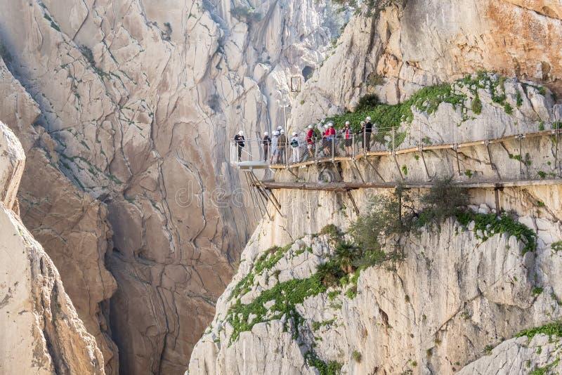 'El Caminito del Rey' (Little Path de rey), la mayoría del peligro del mundo foto de archivo