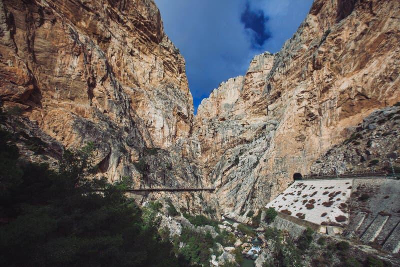El Caminito Del Rey Rocks, Malaga arkivfoton