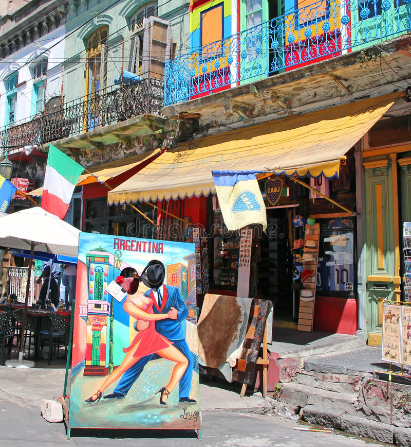 El Caminito,La Boca. The neighborhood of El Caminto,La Boca in Buenos Aires, Argentina is famous for its colorful houses, tango and soccer stock photo