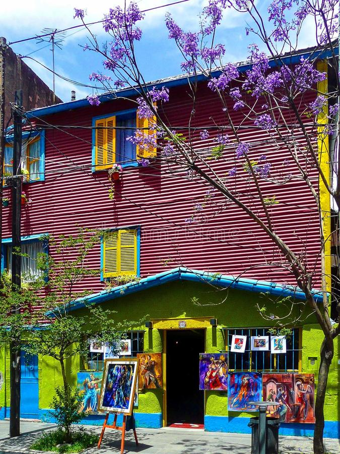 El Caminito. (little walkway or little path in Spanish) is a street museum and a traditional alley, located in La Boca, a neighborhood of Buenos Aires royalty free stock photos
