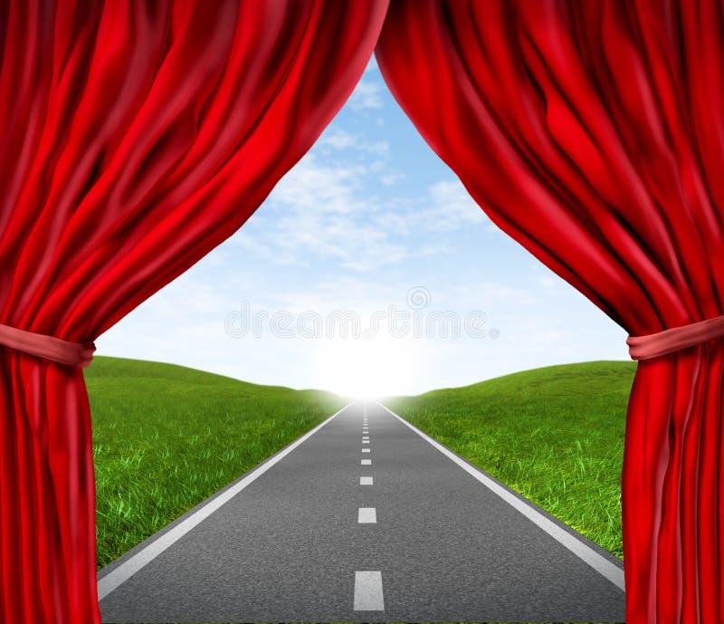 El camino con la cortina roja del terciopelo y cubre stock de ilustración