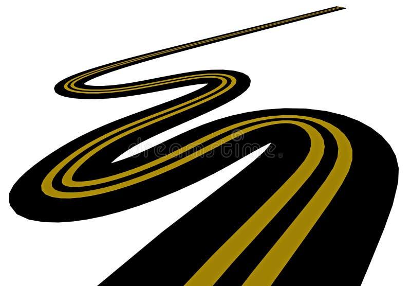 El camino da vuelta de largo a las líneas amarillas aisladas, representación 3d ilustración del vector