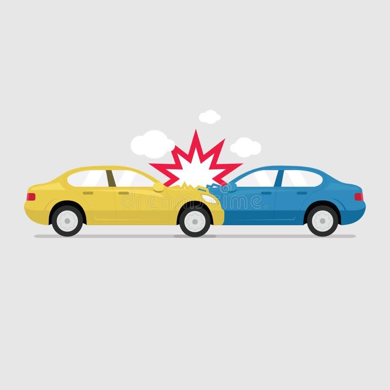 El camino del accidente en la calle dañó los automóviles después de choque de coche de la colisión libre illustration