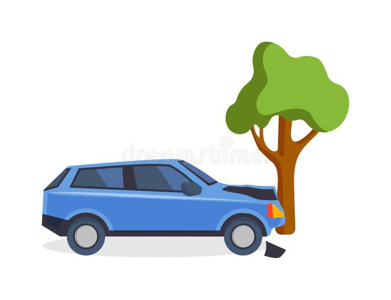 El camino del accidente en la calle dañó los automóviles después de vector del choque de coche de la colisión ilustración del vector