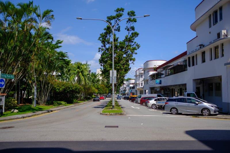 El camino en Singapur allí es un aseado y limpio imágenes de archivo libres de regalías