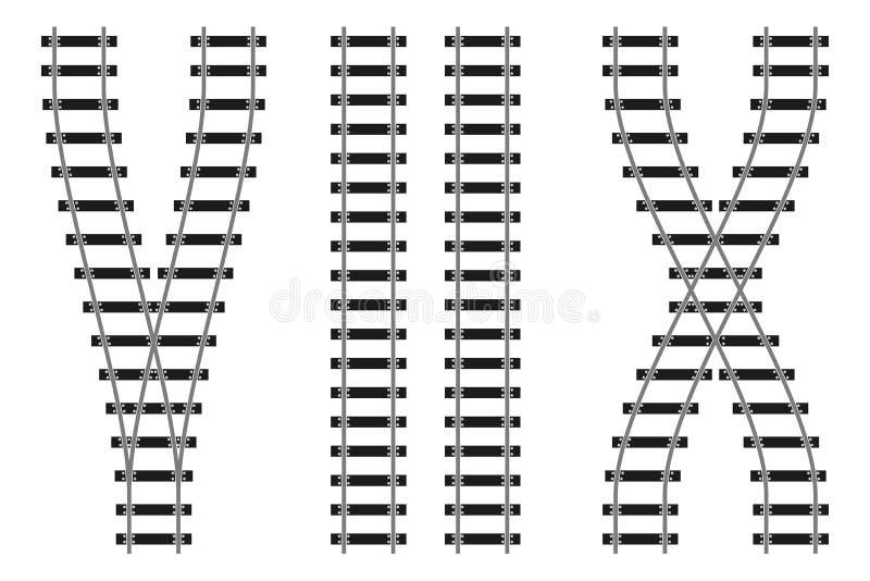 El camino ferroviario del tren cerca el ejemplo del vector con barandilla de los elementos del constructor stock de ilustración