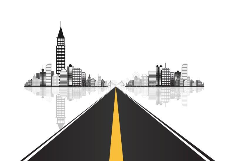 El camino lleva a los edificios del iceberg de la ciudad ilustración del vector