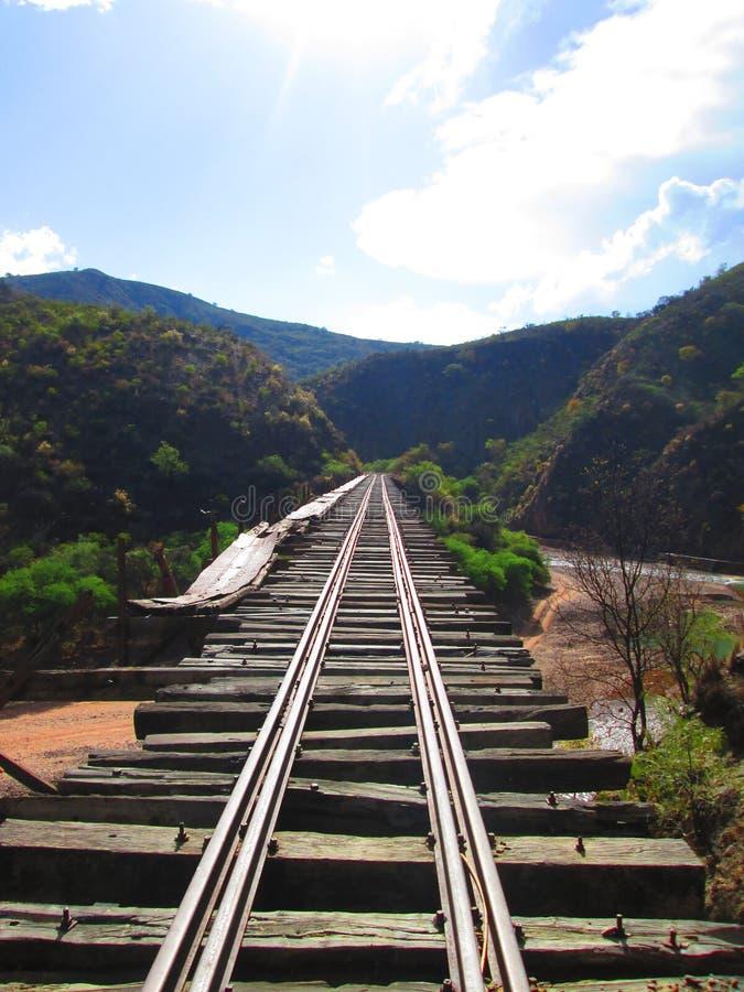 El Camino a seguir ?. Antigua via de tren abandonada Potosi-Sucre stock photo