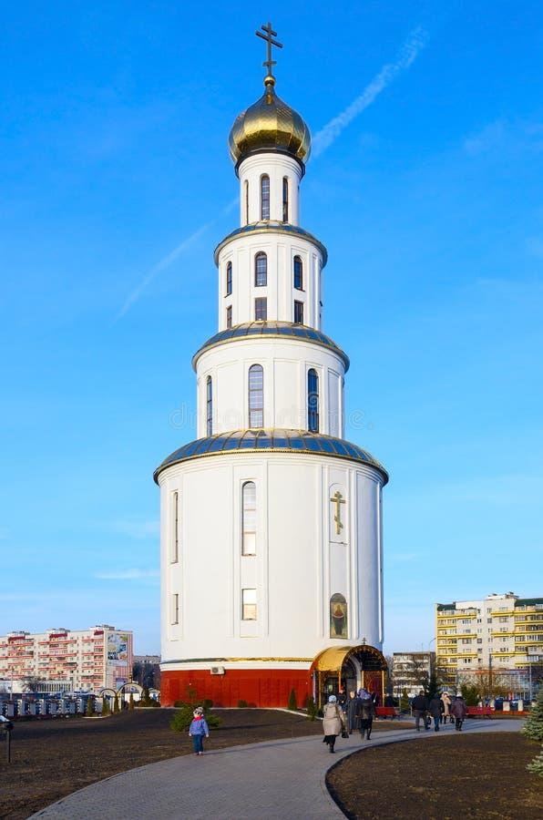 El campanario de la catedral de la resurrección santa, Brest, Bielorrusia imagenes de archivo