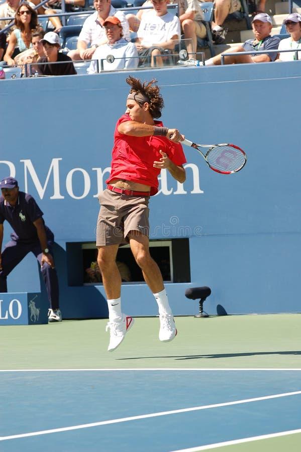 El campeón los E.E.U.U. de Federer Rogelio abre 2008 (01) fotografía de archivo