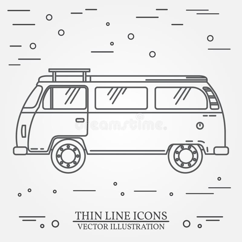 El campista de la familia del autobús del viaje enrarece la línea Icono del esquema del autobús turístico del camión del viajero  libre illustration
