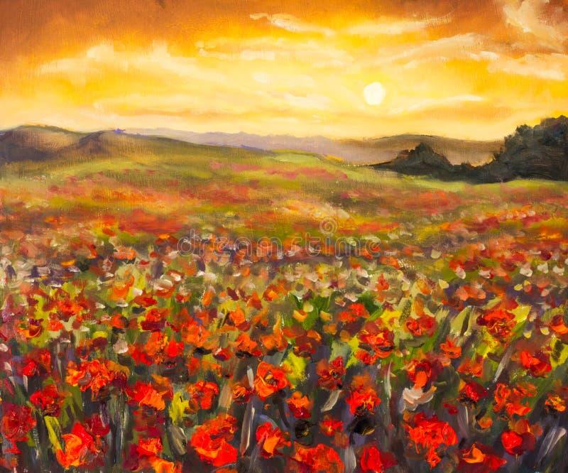 El campo de amapolas rojas en las flores imponentes de la puesta del sol ajardina la pintura al óleo stock de ilustración