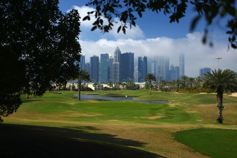 El campo de golf en Dubai fotografía de archivo libre de regalías