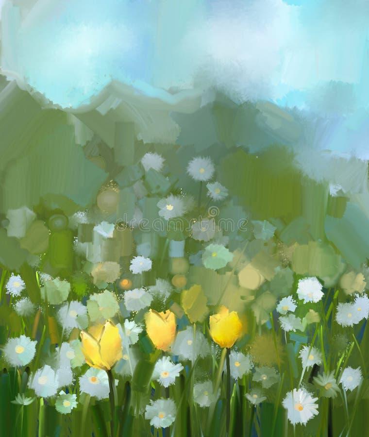 El campo de la pintura al óleo del tulipán amarillo y de la margarita blanca florece stock de ilustración
