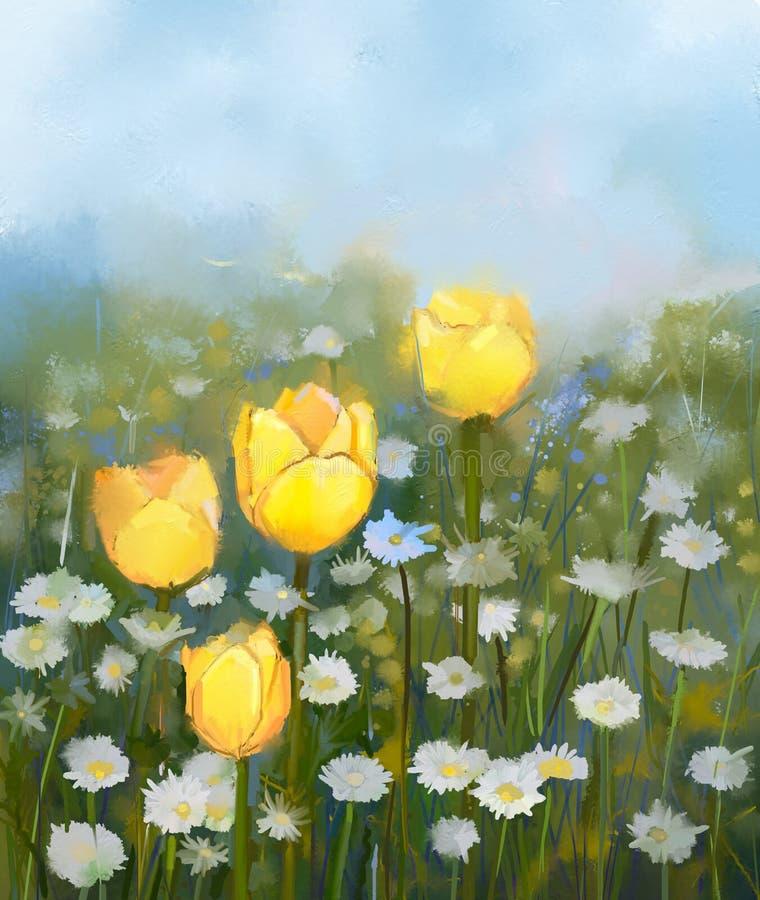 El campo de la pintura al óleo del tulipán amarillo y de la margarita blanca florece ilustración del vector