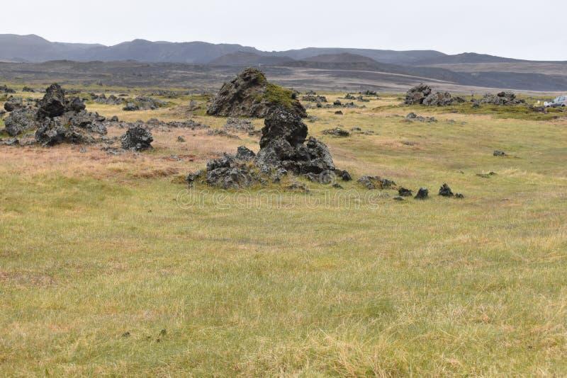 El campo de lava Dimmu Borgir en Myvatn, Islandia fotos de archivo libres de regalías