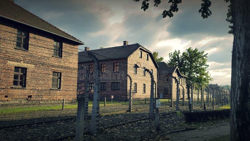 El campo más grande de Nazi Concentration - Birkenau Oswiecim Polonia foto de archivo