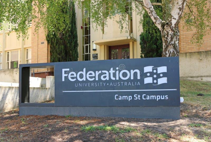 El campus de la calle del campo de la universidad de la federación de Ballarat, una mezcla de edificios nuevos e históricos, casa fotos de archivo libres de regalías