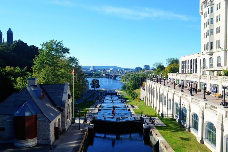 El canal de Rideau en Ottawa foto de archivo libre de regalías