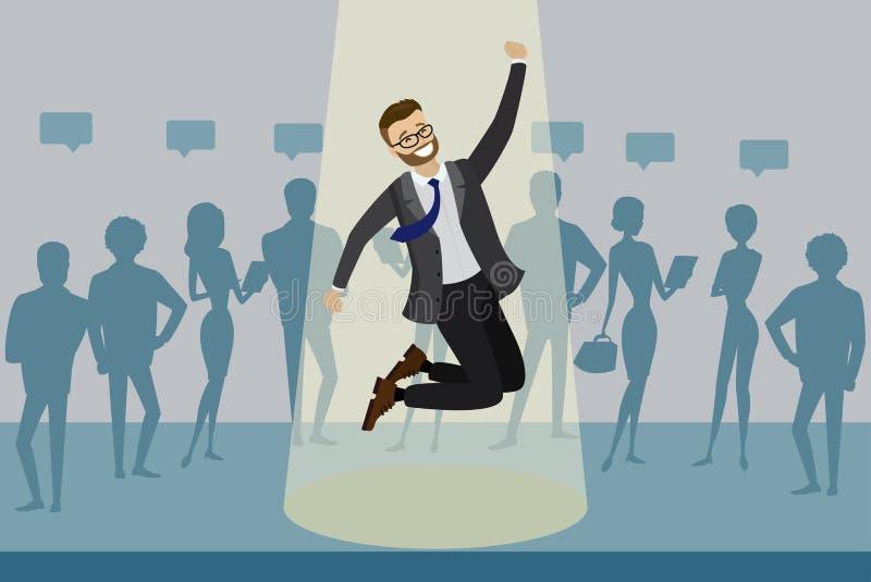 El candidato de trabajo de la historieta ganó y los saltos en proyector, concepto del reclutamiento del recurso humano, siluetas  stock de ilustración