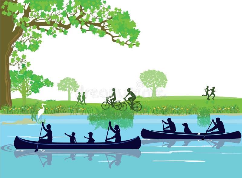 El Canoeing en verano en el parque ilustración del vector
