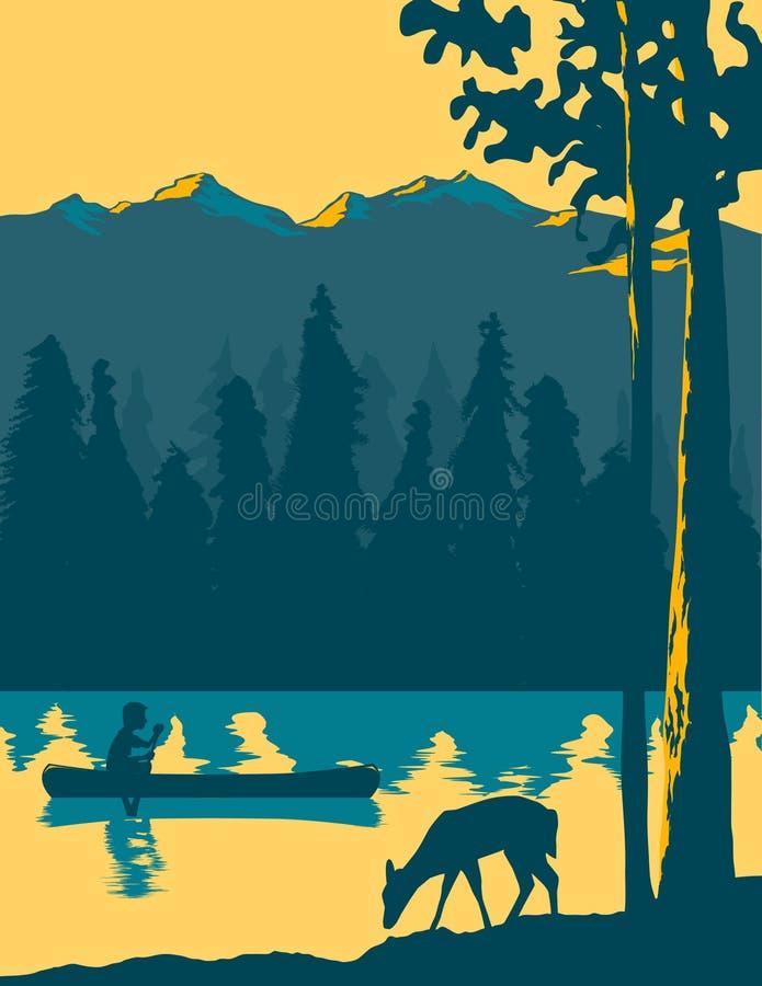 El Canoeing que va ilustración del vector