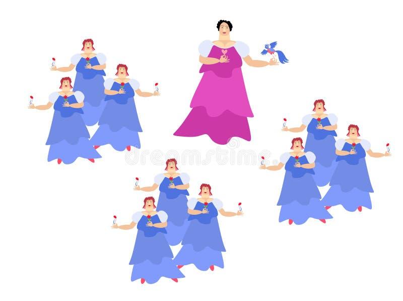 El cantante de la ópera en la etapa diva Vector lindo de la historieta ilustración del vector