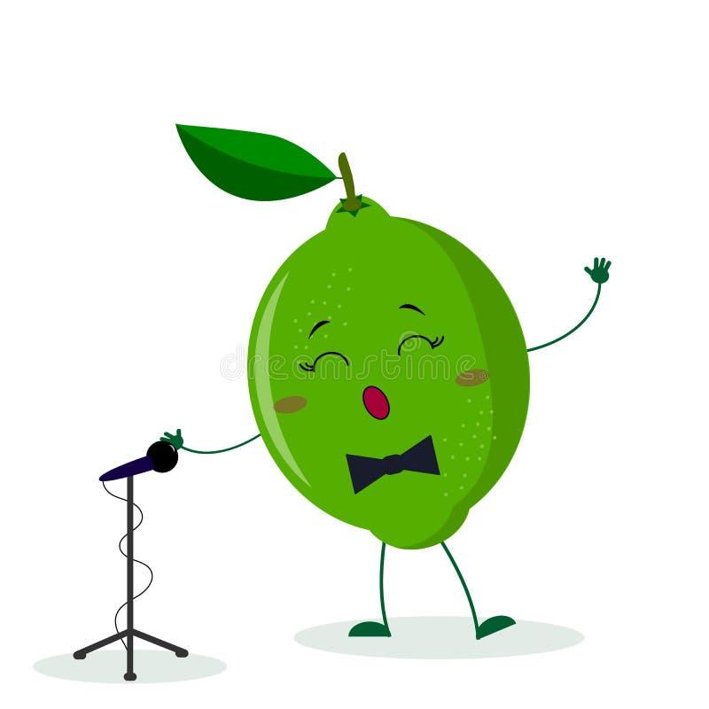 El cantante lindo de la cal de la fruta de Kawai con una corbata de lazo canta en el micrófono Car?cter del estilo de la historie stock de ilustración