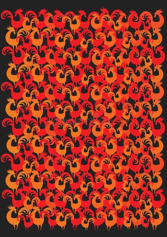 El caos de gallos rojos y anaranjados imagenes de archivo