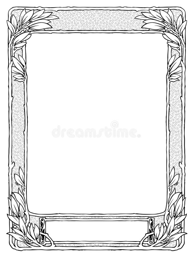 El capítulo con el laurel para el retrato, se ennegrece aislado stock de ilustración