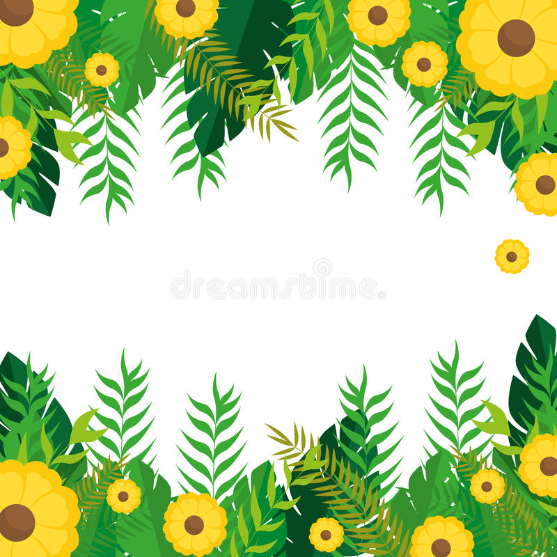 El capítulo con las flores amarillas y la naturaleza verde de las hojas diseñan libre illustration