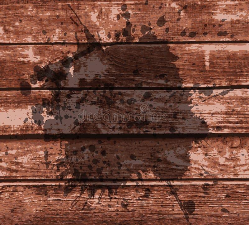 El capítulo con salpica en un fondo de madera ilustración del vector