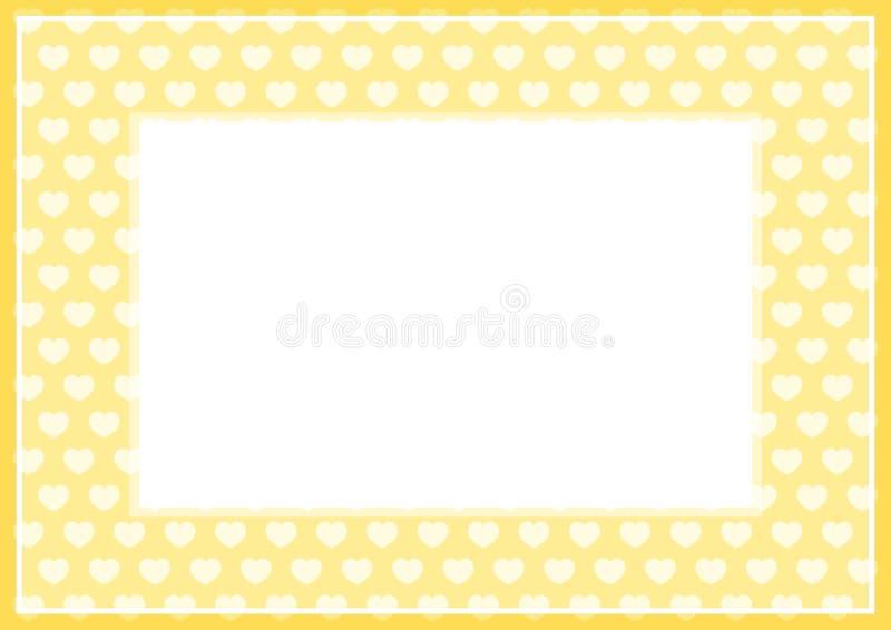 El capítulo de la suavidad amarilla del color en colores pastel y los corazones forman para el fondo y el Libro Blanco del espac stock de ilustración