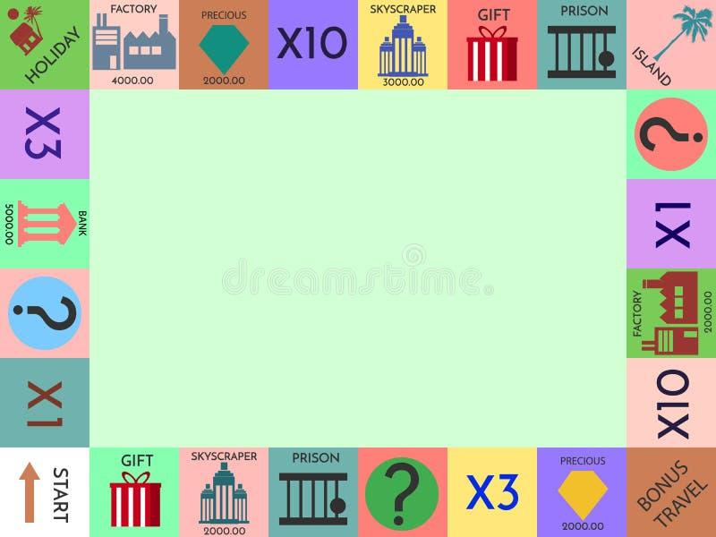 El capítulo del juego de mesa del monopolio, marco divertido para los niños vector el ejemplo ilustración del vector