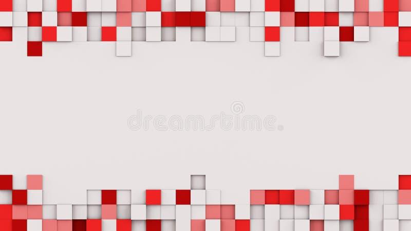 El capítulo del rojo sacado cubica la representación 3D stock de ilustración