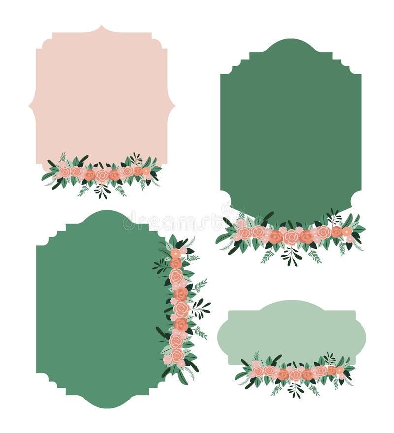 El capítulo fijó con el ornamento floral en silueta colorida libre illustration
