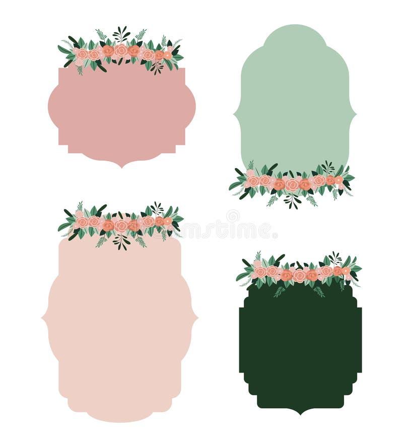 El capítulo fijó con el ornamento floral en silueta colorida ilustración del vector
