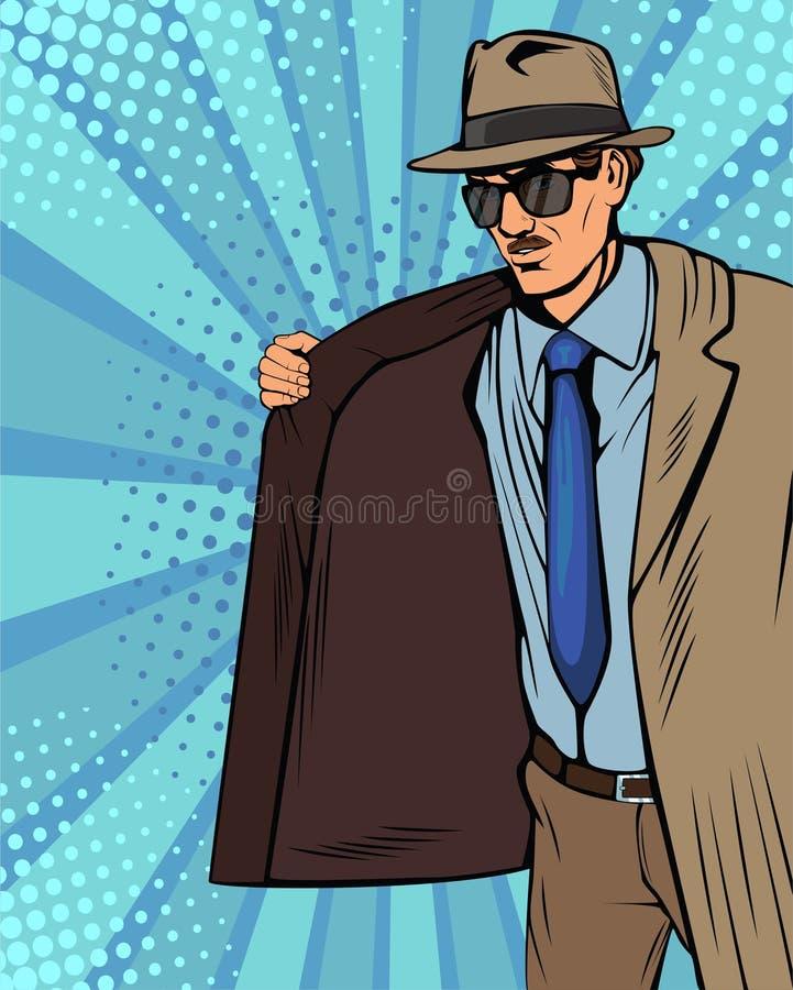 El capa-vendedor, el contrabandista o el contrabandista del arte pop en sombrero y capa está vendiendo ilegal en mercado negro stock de ilustración