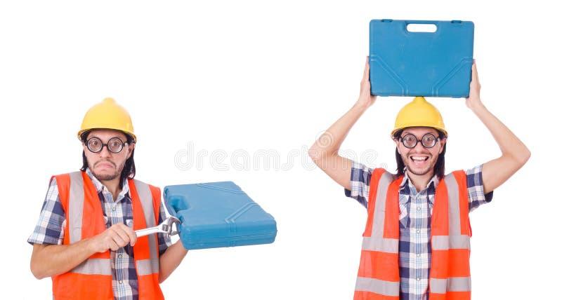 El capataz con el equipo de herramienta aislado en blanco fotografía de archivo libre de regalías