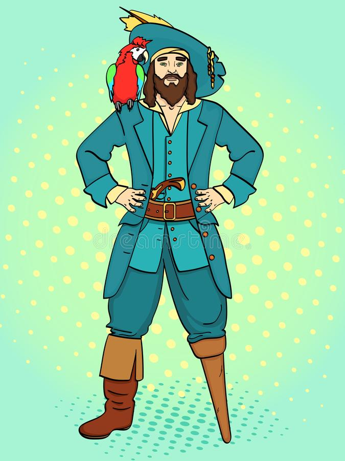 El capitán con una sola pierna, pie de madera, hombre es pirata, marinero Vector, fondo del arte pop Estilo cómico de imitación libre illustration