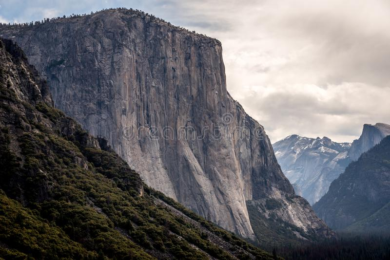 El Capitain from Yosemite NP Tunnel View stock images
