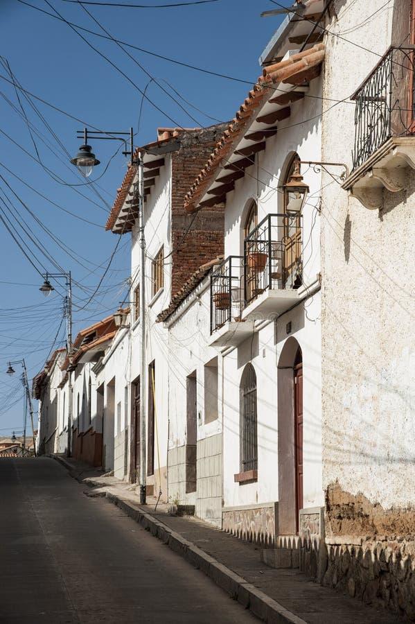 El capital de Bolivia - el sucre tiene una herencia colonial rica, evidente en sus edificios, street-scapes e iglesias numerosas imagen de archivo libre de regalías
