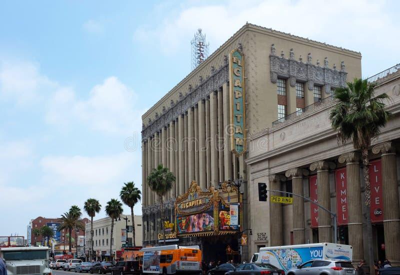 El Capitan剧院是好莱坞大道的一个充分地被恢复的电影宫殿 免版税库存照片
